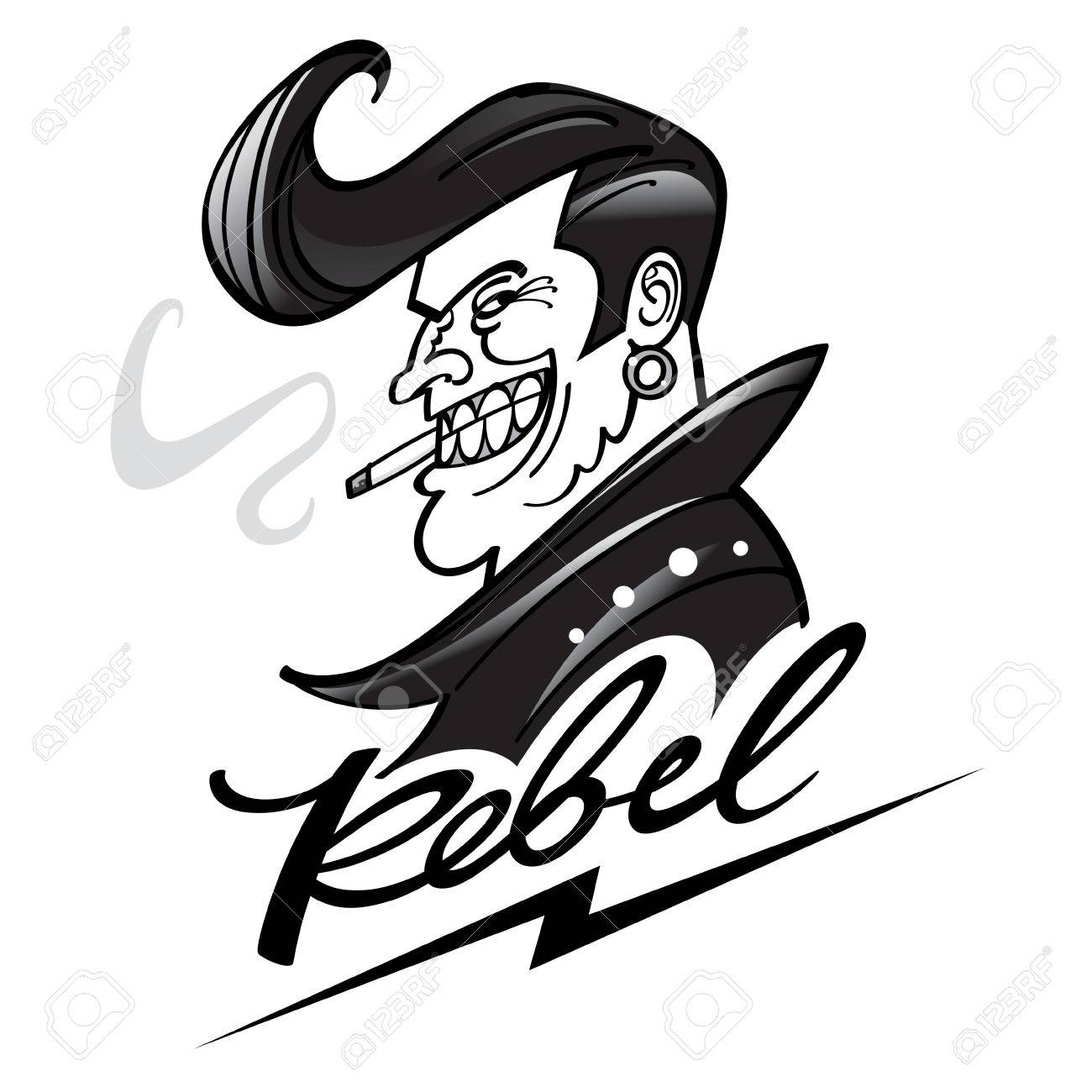 Rebel With A Cool Hairstyle In Leather Jacket Royalty Free Cliparts