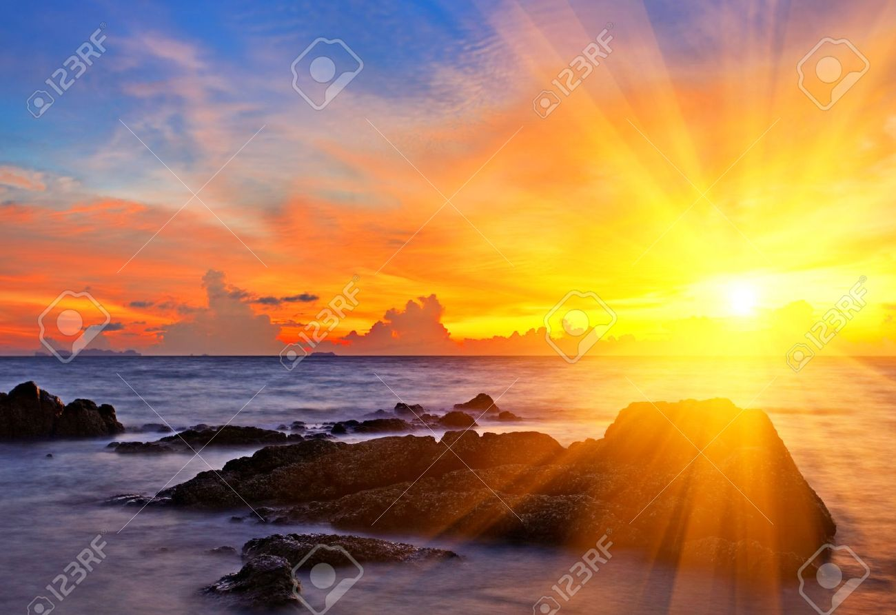 Tropical colorful sunset at the tropical beach. Thailand Stock Photo - 10273093