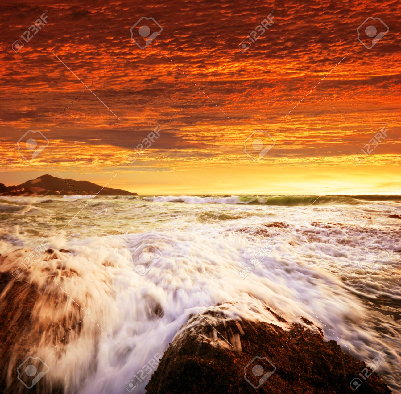 Tropical beach at sunset. Nature background Stock Photo - 10654872