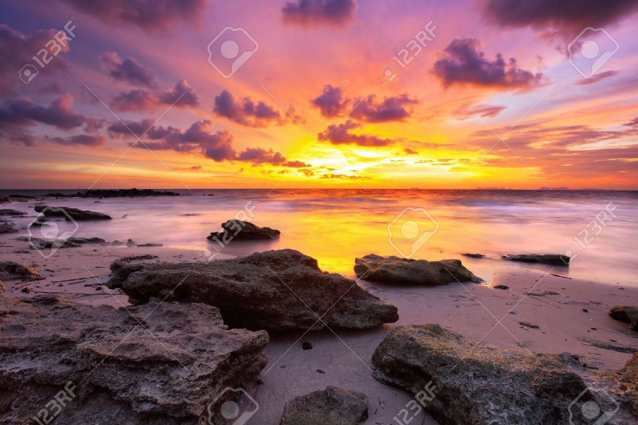 Tropical beach at beautiful sunset. Nature background Stock Photo - 11244816