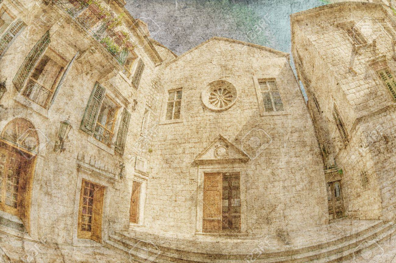 Fish-eye lens look of the old city on sky background in retro style  Kotor  Montenegro Stock Photo - 14534604