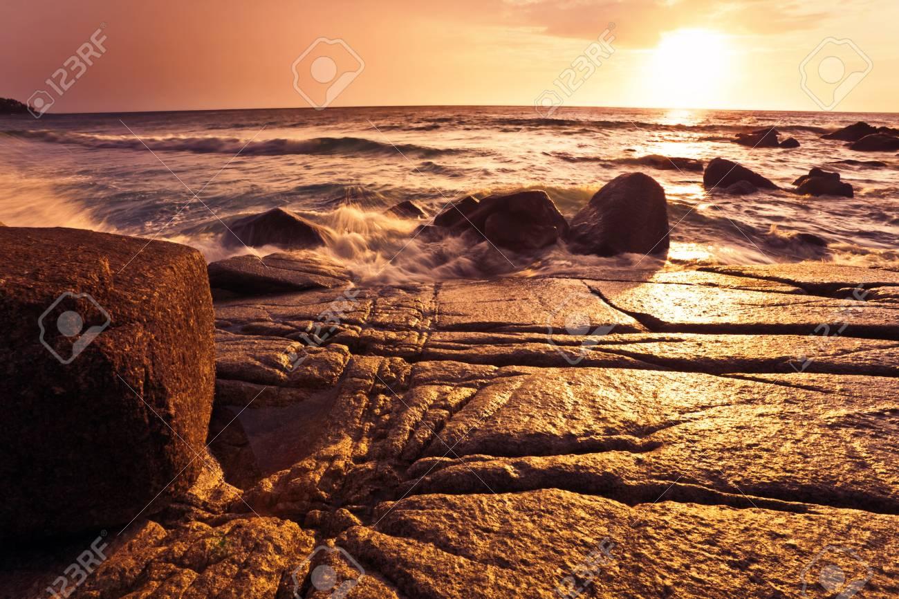 Tropical beach at beautiful sunset  Nature background Stock Photo - 15057840