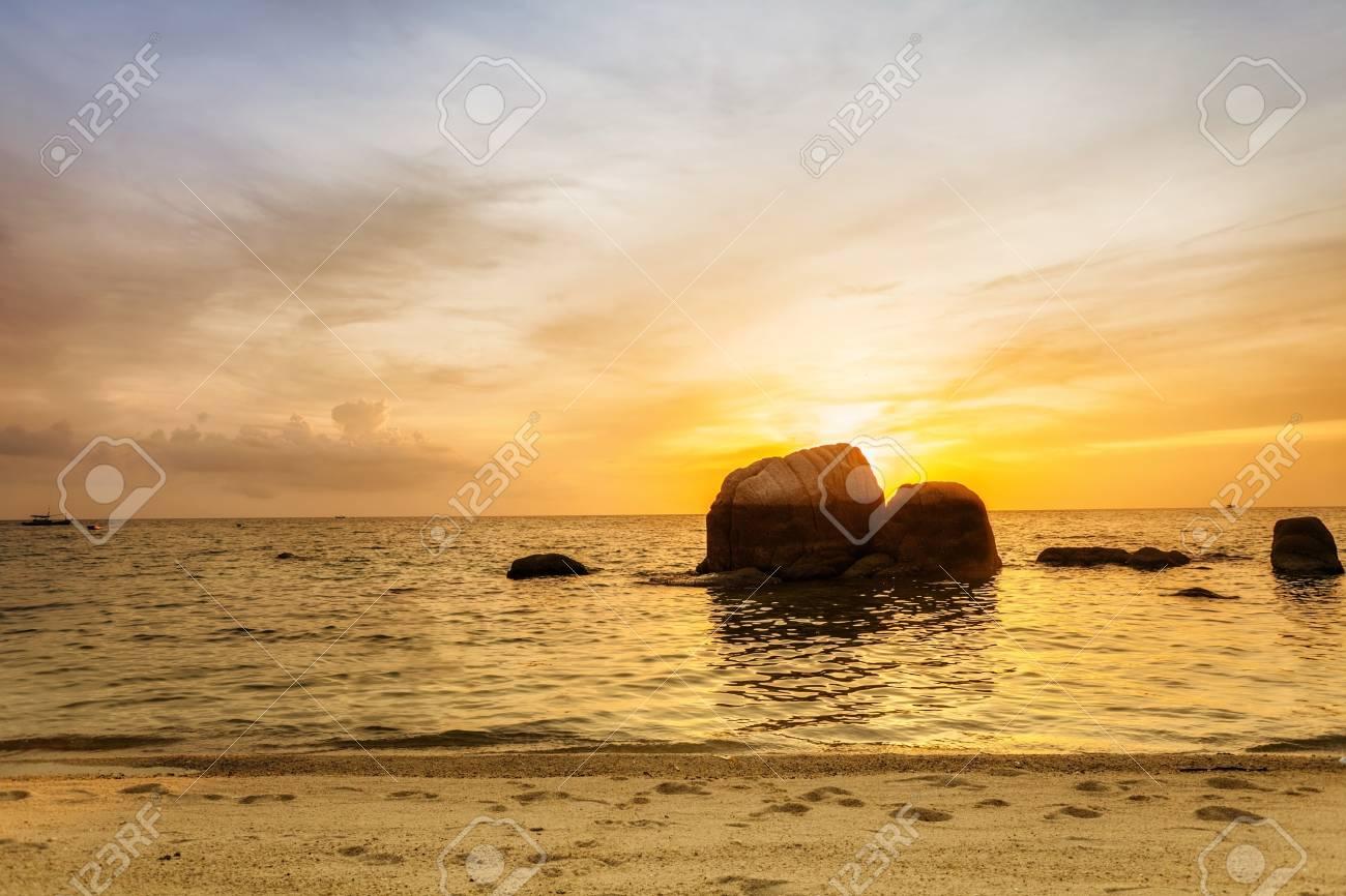 Tropical beach at beautiful sunset  Nature background Stock Photo - 15505838