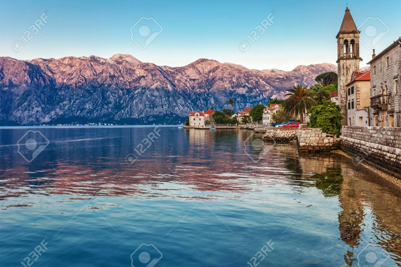 Evening in sea town on mountains background  Montenegro Stock Photo - 15829707