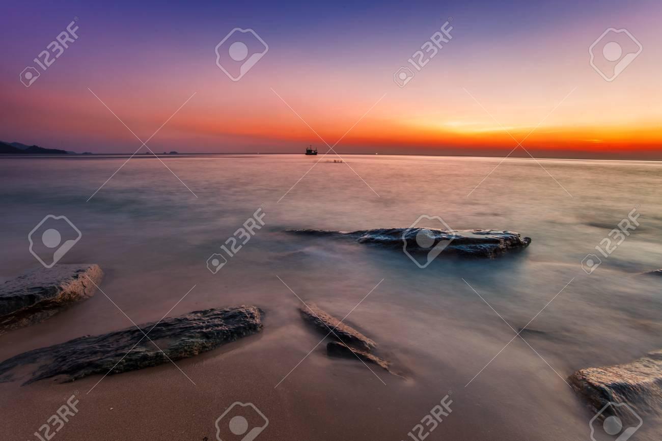 Tropical beach at beautiful sunset  Nature background Stock Photo - 16451802
