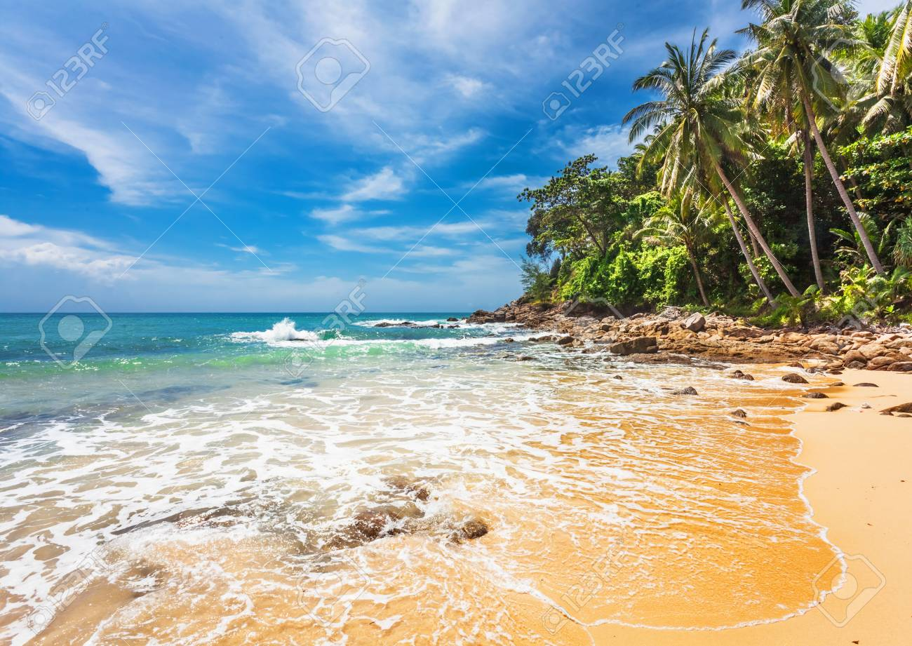 Beautiful tropical beach with  sea view, clean water   blue sky  Nature background Stock Photo - 16584724