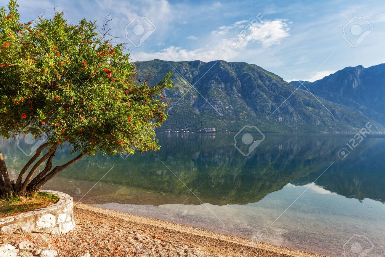 Sandy beach with sea and mountain views   Montenegro Stock Photo - 16729287