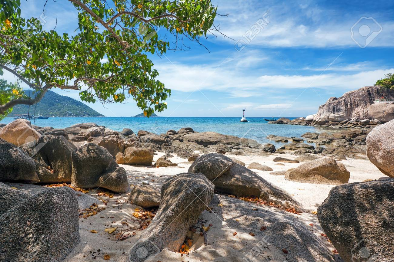 Beautiful tropical beach with  sea view, clean water & blue sky. Nature background Stock Photo - 16856090