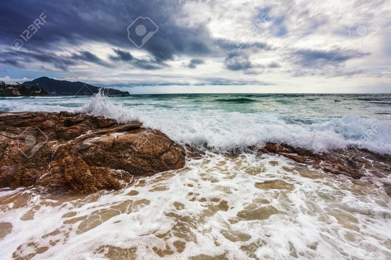 tropical beach under gloomy sky  Thailand Stock Photo - 17124165