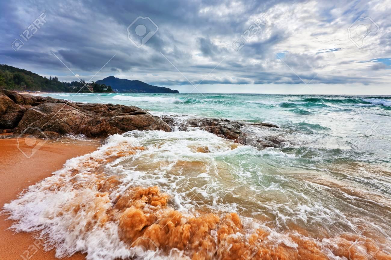 tropical beach under gloomy sky  Thailand Stock Photo - 17124162