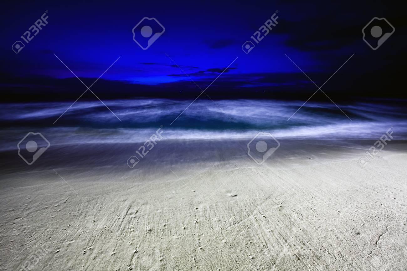 Night on the white sand tropical beach  Phuket  Thailand Stock Photo - 17124166