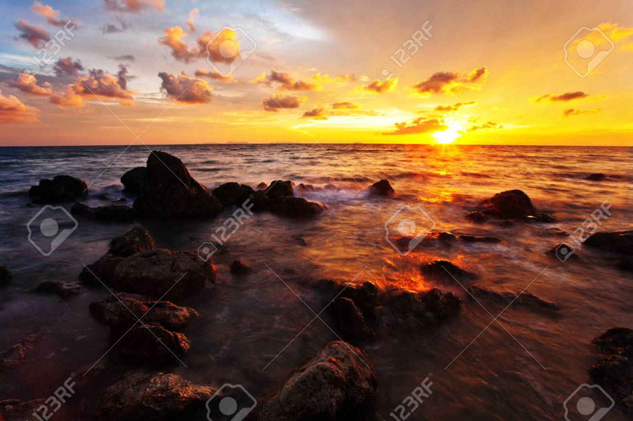 Tropical beach at beautiful sunset  Nature background Stock Photo - 17124141