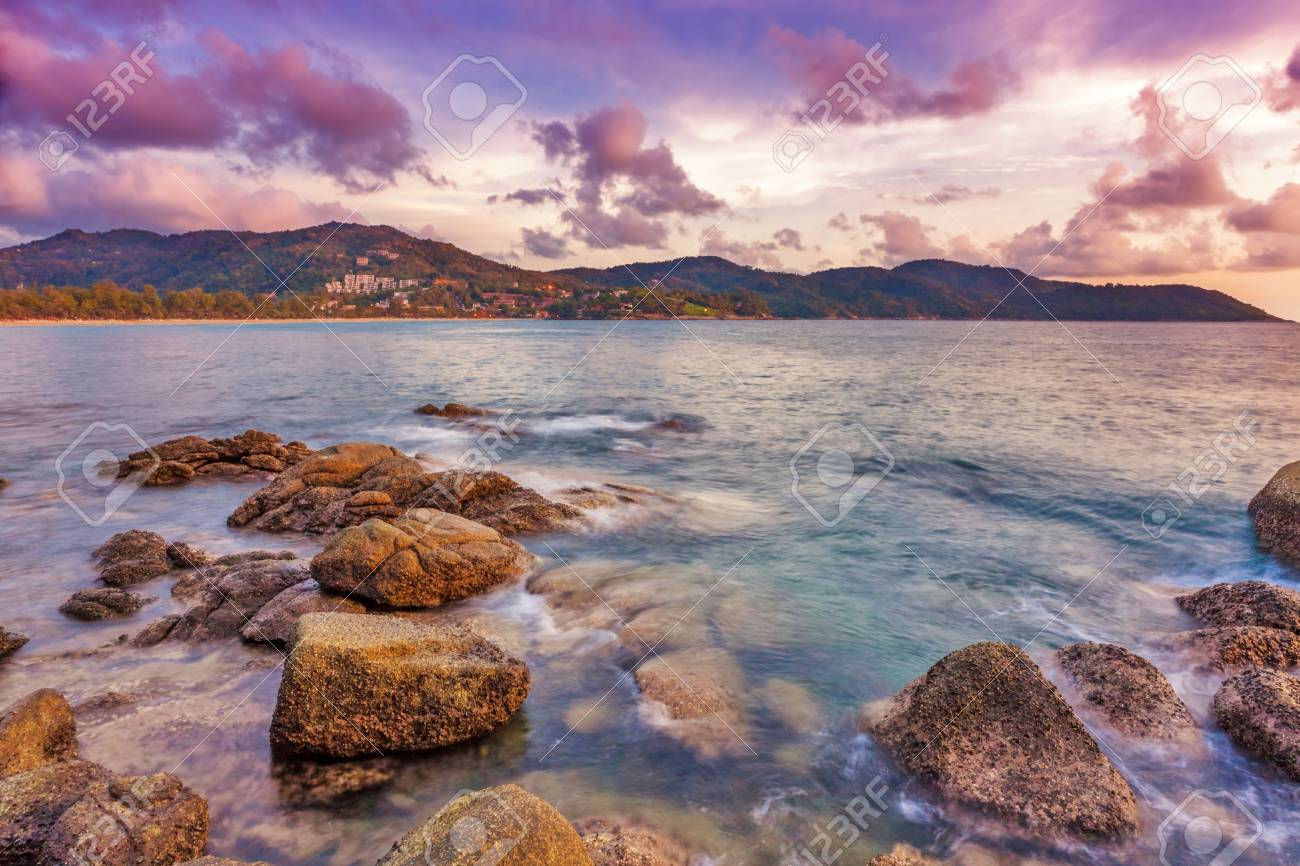 Tropical beach at beautiful sunset  Nature background Stock Photo - 17124144