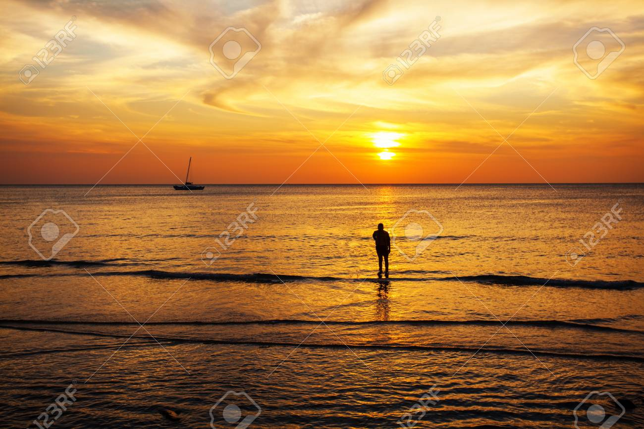 Tropical beach at beautiful sunset  Nature background Stock Photo - 17195869