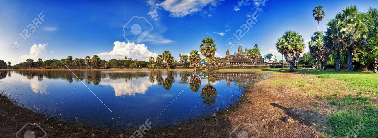 Angkor Wat Temple, Siem reap, Cambodia  Stitched panorama Stock Photo - 17195904