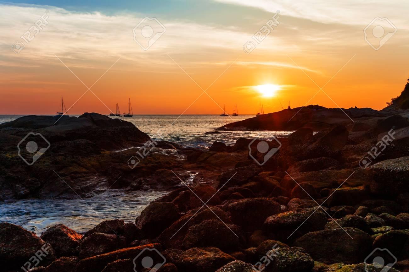 Tropical beach at beautiful sunset. Nature background Stock Photo - 17703206