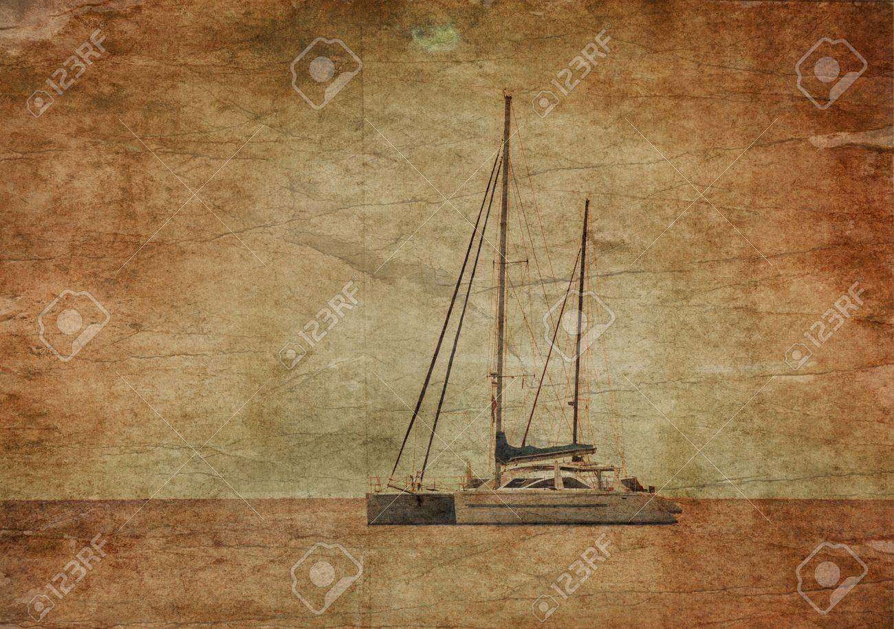Yacht in the tropical sea at sunset in grunge and retro style Stock Photo - 19586021