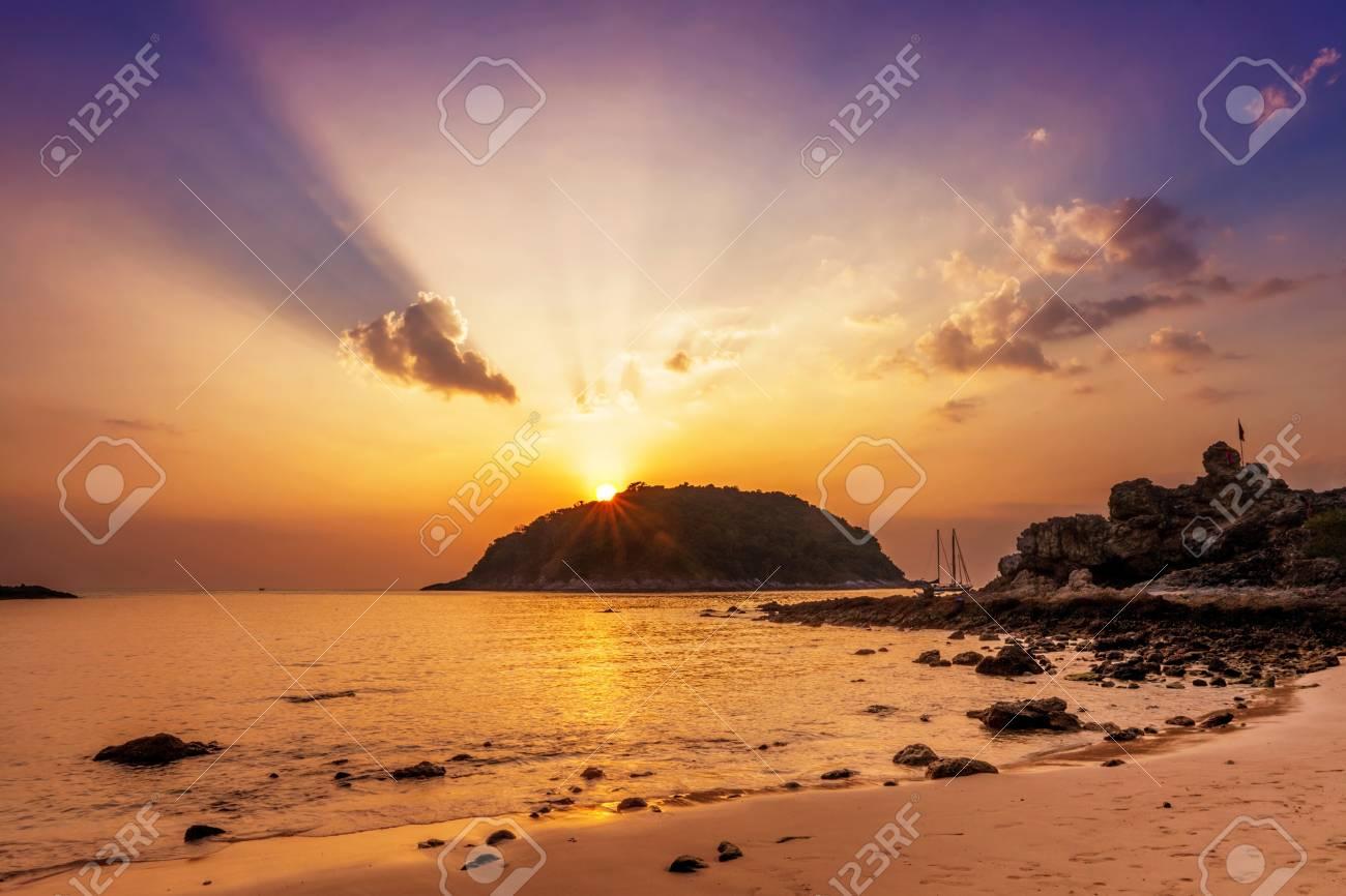 Tropical beach at beautiful sunset  Nature background Stock Photo - 19819965