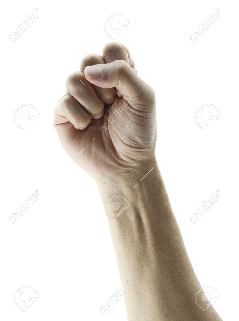 clenched fist hand closeup white background conceptual studio Stock Photo - 12851764