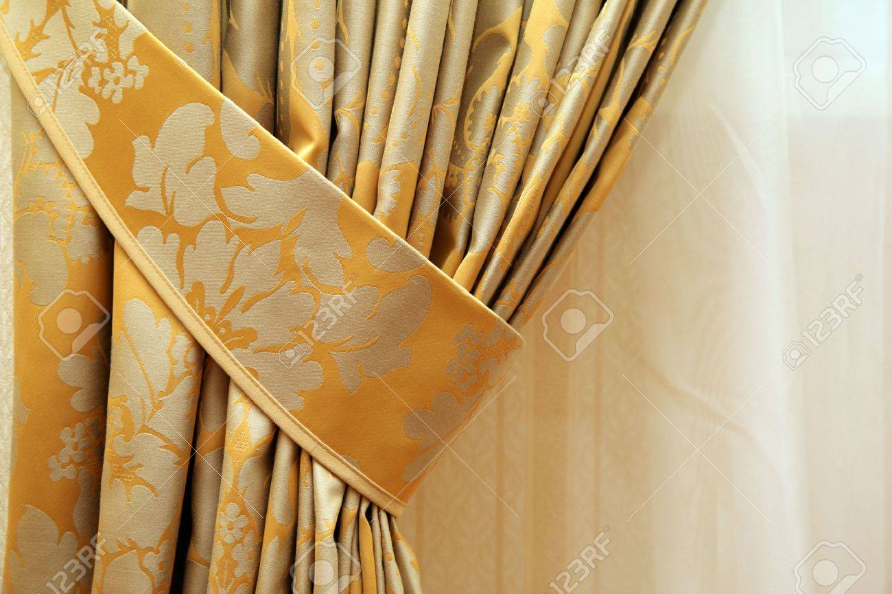 Beautiful Curtain On Edge Of A Window Stock Photo, Picture And ...