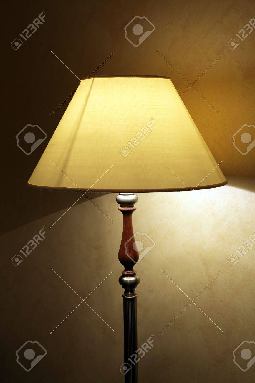 Floor Lamp With The Big Lamp Shade Stock Photo, Picture And ...