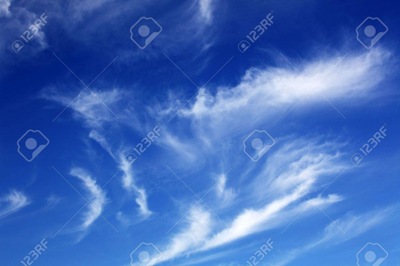 Some white clouds in the clear sky Stock Photo - 6089420