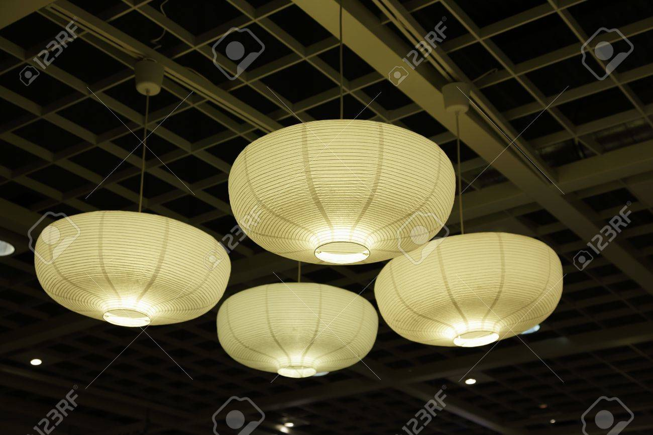 Ceiling lights with paper lamp shades stock photo picture and ceiling lights with paper lamp shades stock photo 17632291 aloadofball Gallery