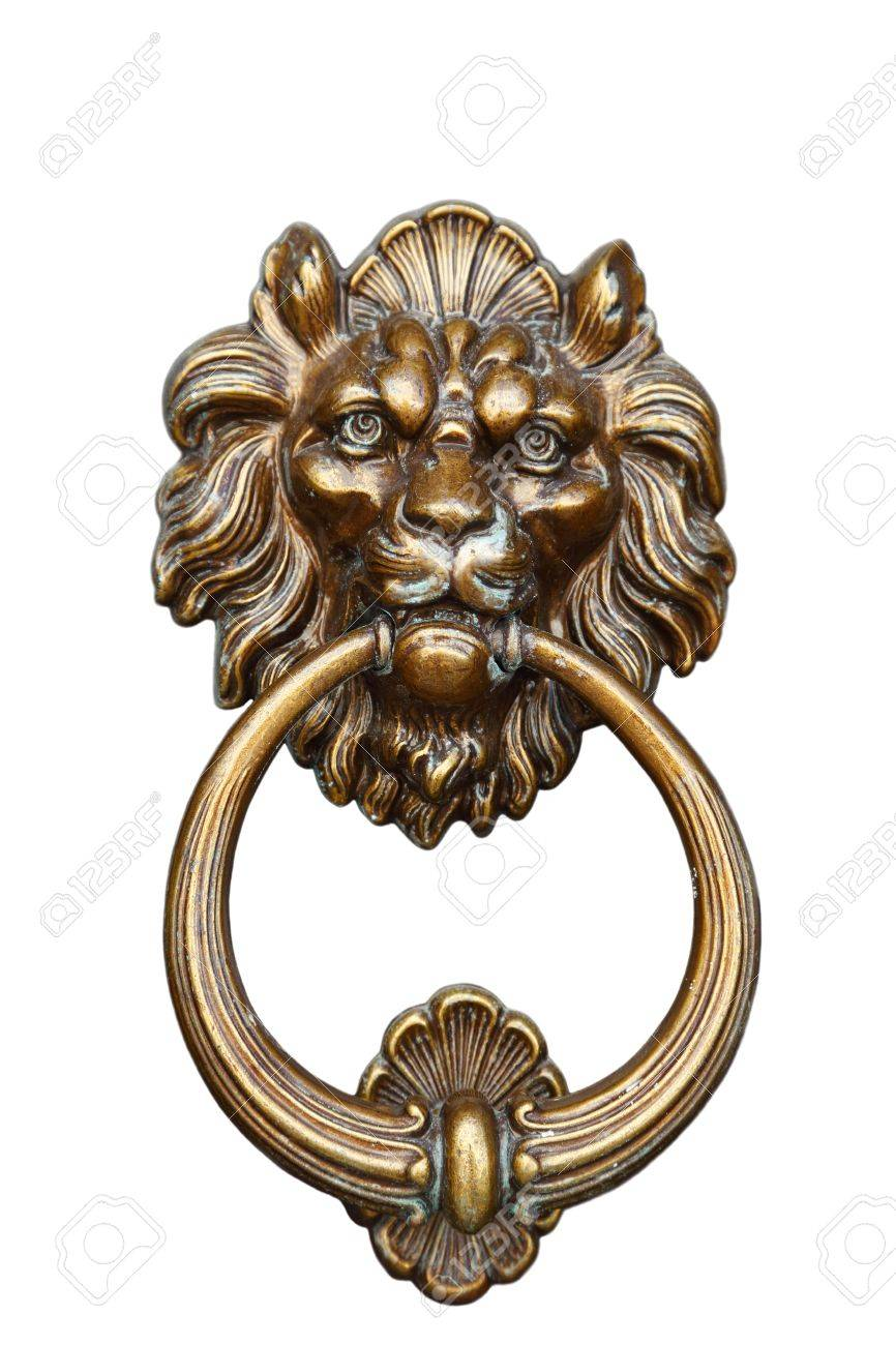 Old Door Handle With The Head Of A Lion And An Iron Ring Stock Photo