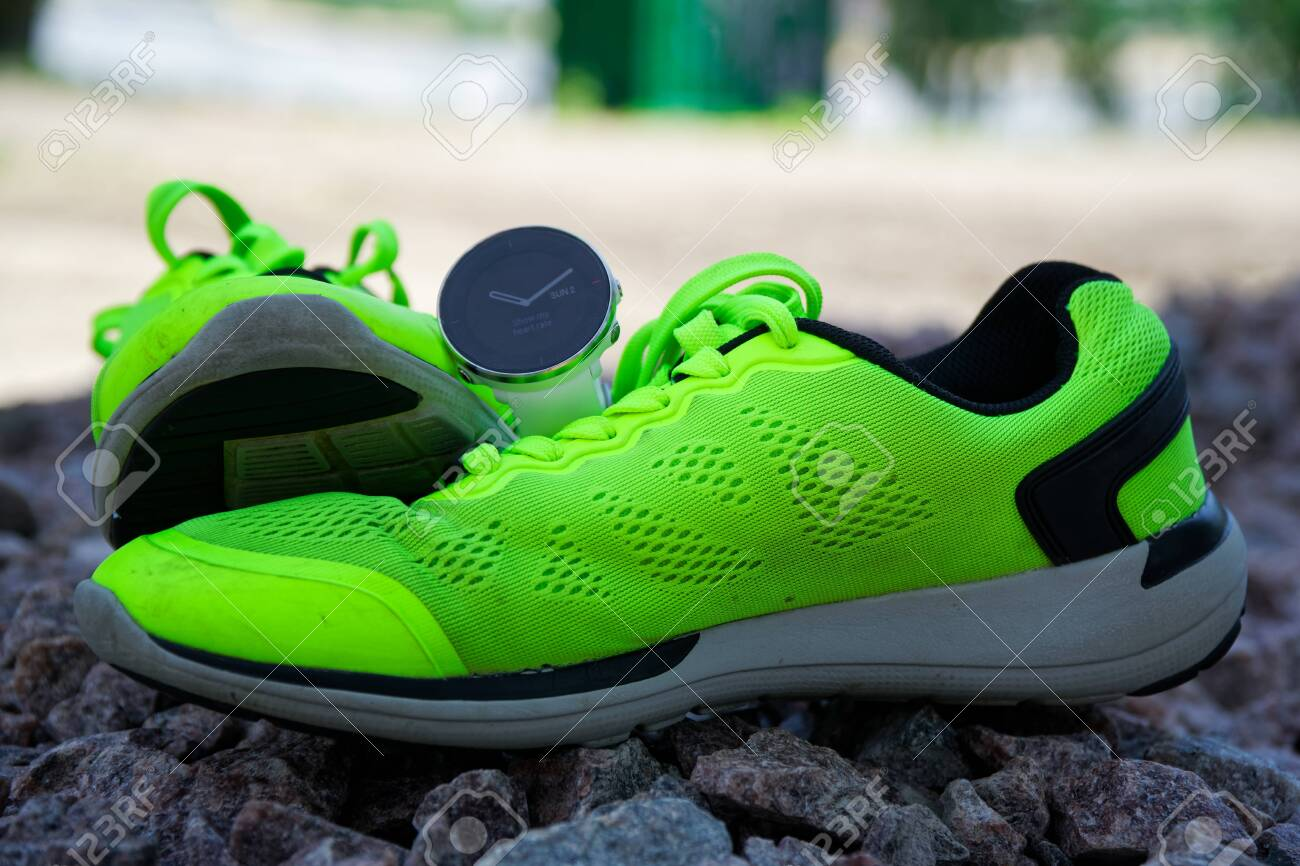 premium selection 3f879 95b23 Sport watch for crossfit and triathlon on the green running shoes...