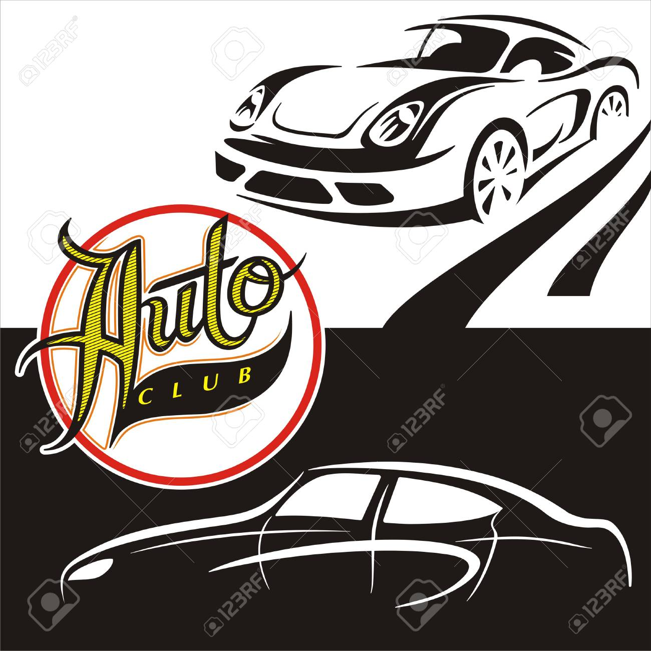 Illustrations Black And White Cars With The Sign Auto Club Stock Vector