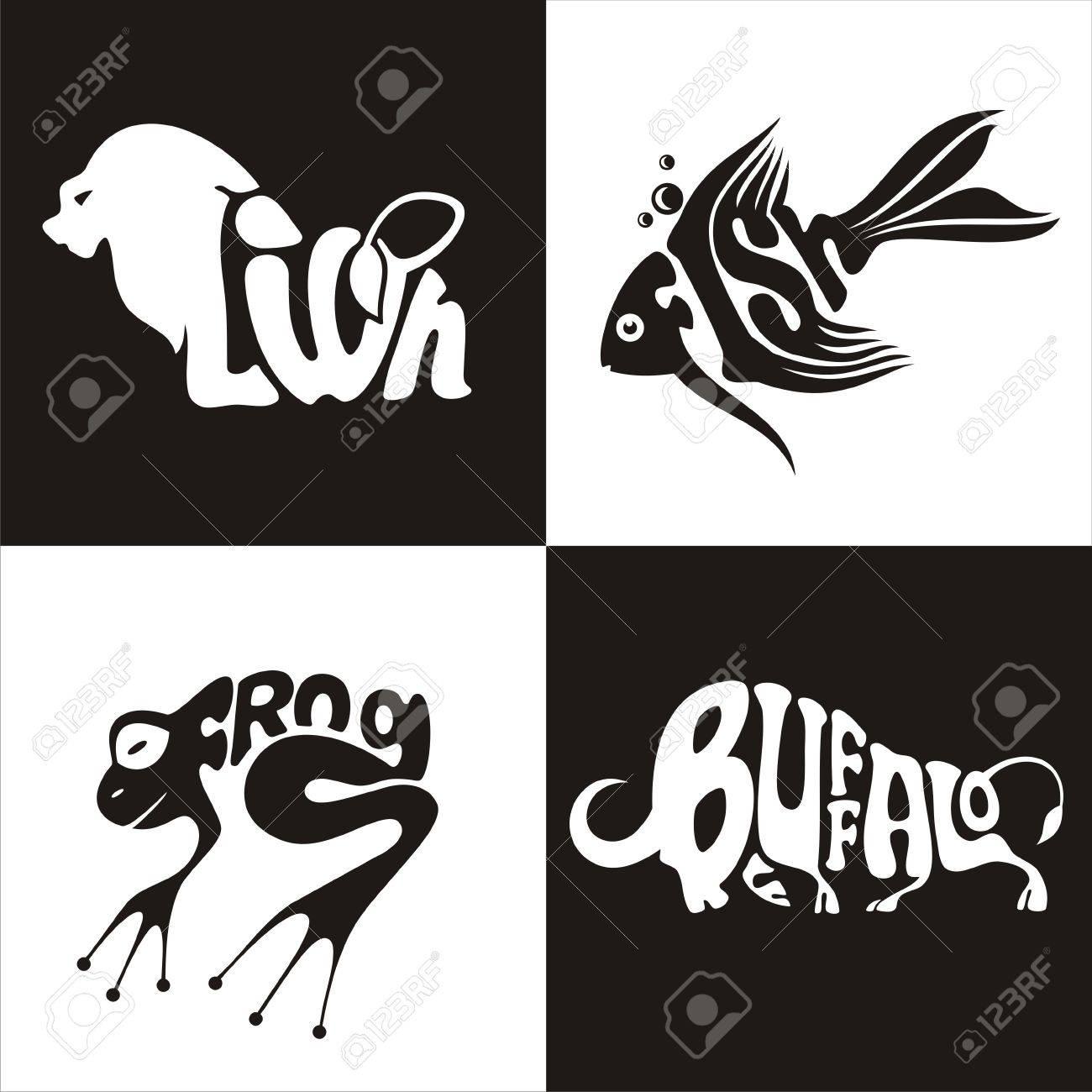 Ilustración Vectorial Logotipo De Los Animales León, Búfalo, Ranas ...