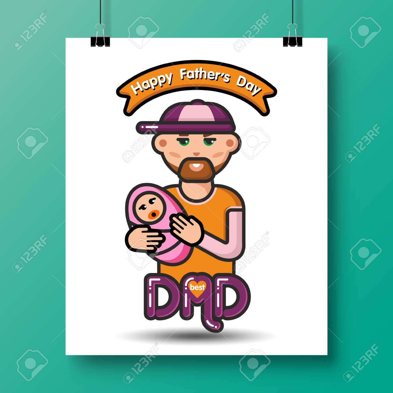 Vader Met Pasgeboren Baby Poster Voor Vaderdag Of Voor Verjaardag