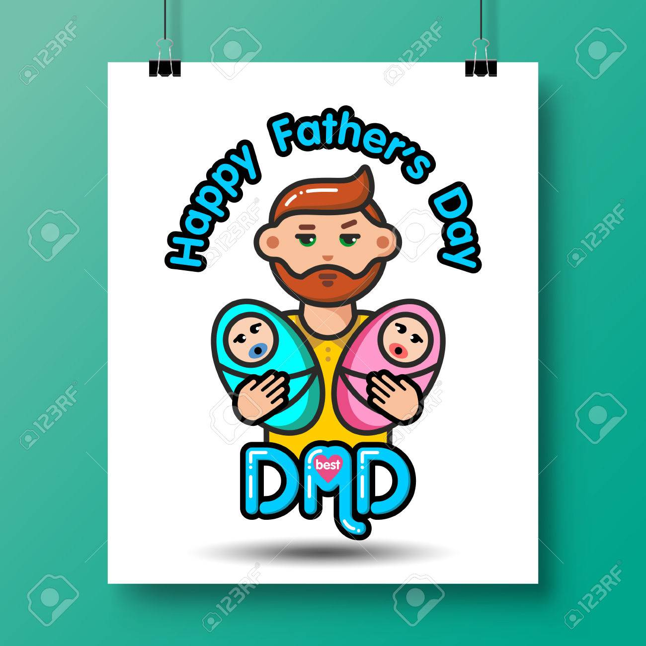 Vader Met Pasgeboren Kinderposter Voor Vadersdag Of Voor Verjaardag