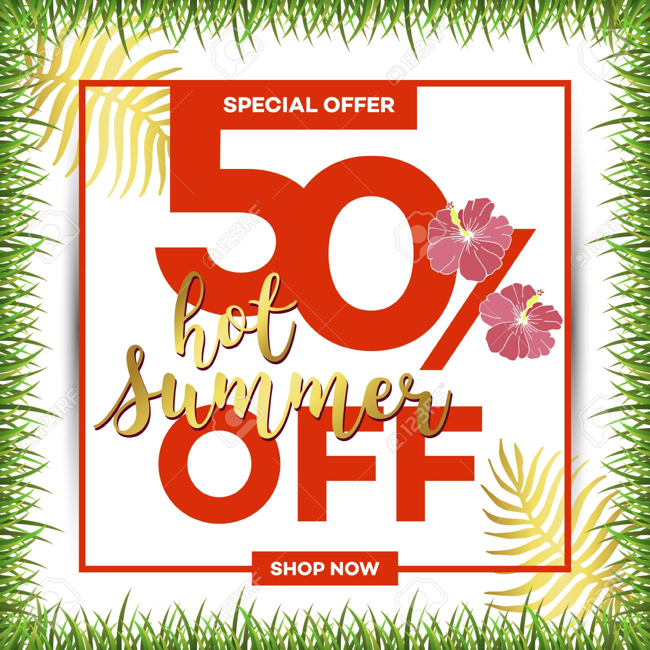 Template summer sale discount banner with tropical palm leaves template summer sale discount banner with tropical palm leaves summer time art design travel stopboris Choice Image