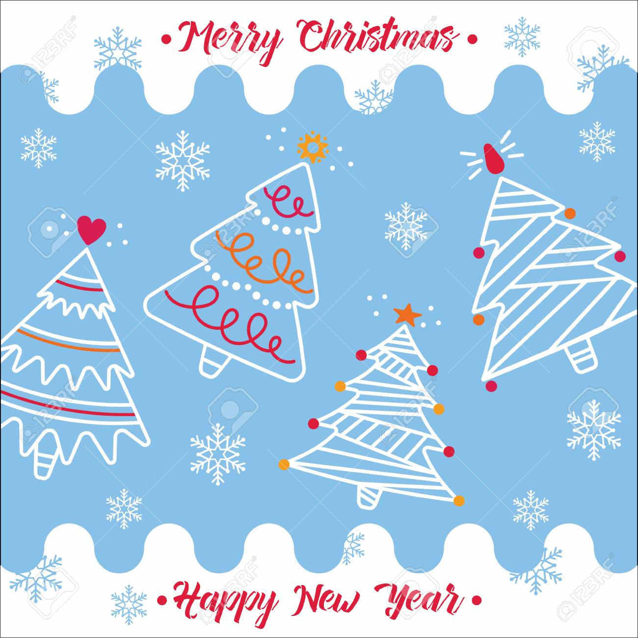 Merry Christmas And New Year Greeting Card On A Blue Background