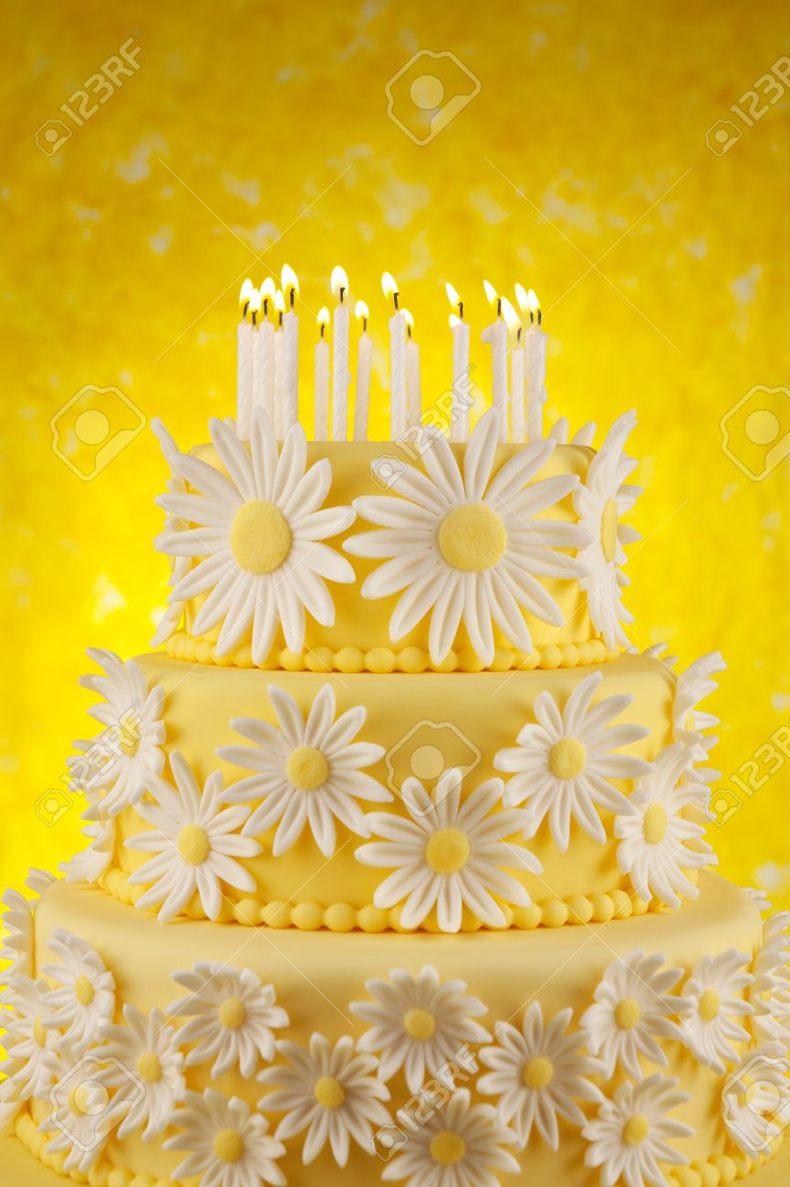 Superb Daisy Birthday Cake Stock Photo Picture And Royalty Free Image Funny Birthday Cards Online Elaedamsfinfo