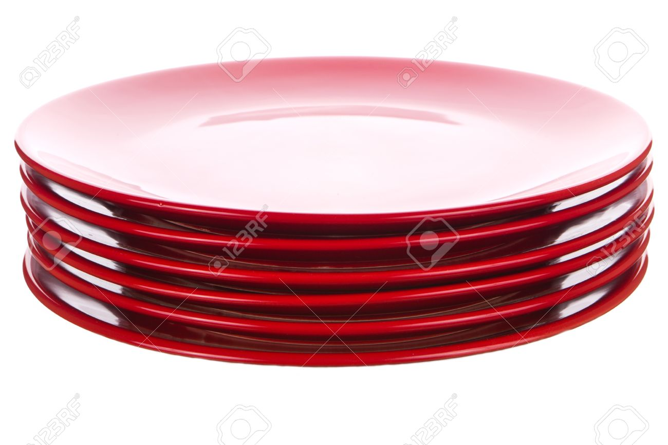 Stack of red ceramic plates isolated on white Stock Photo - 26378672  sc 1 st  123RF.com & Stack Of Red Ceramic Plates Isolated On White Stock Photo Picture ...