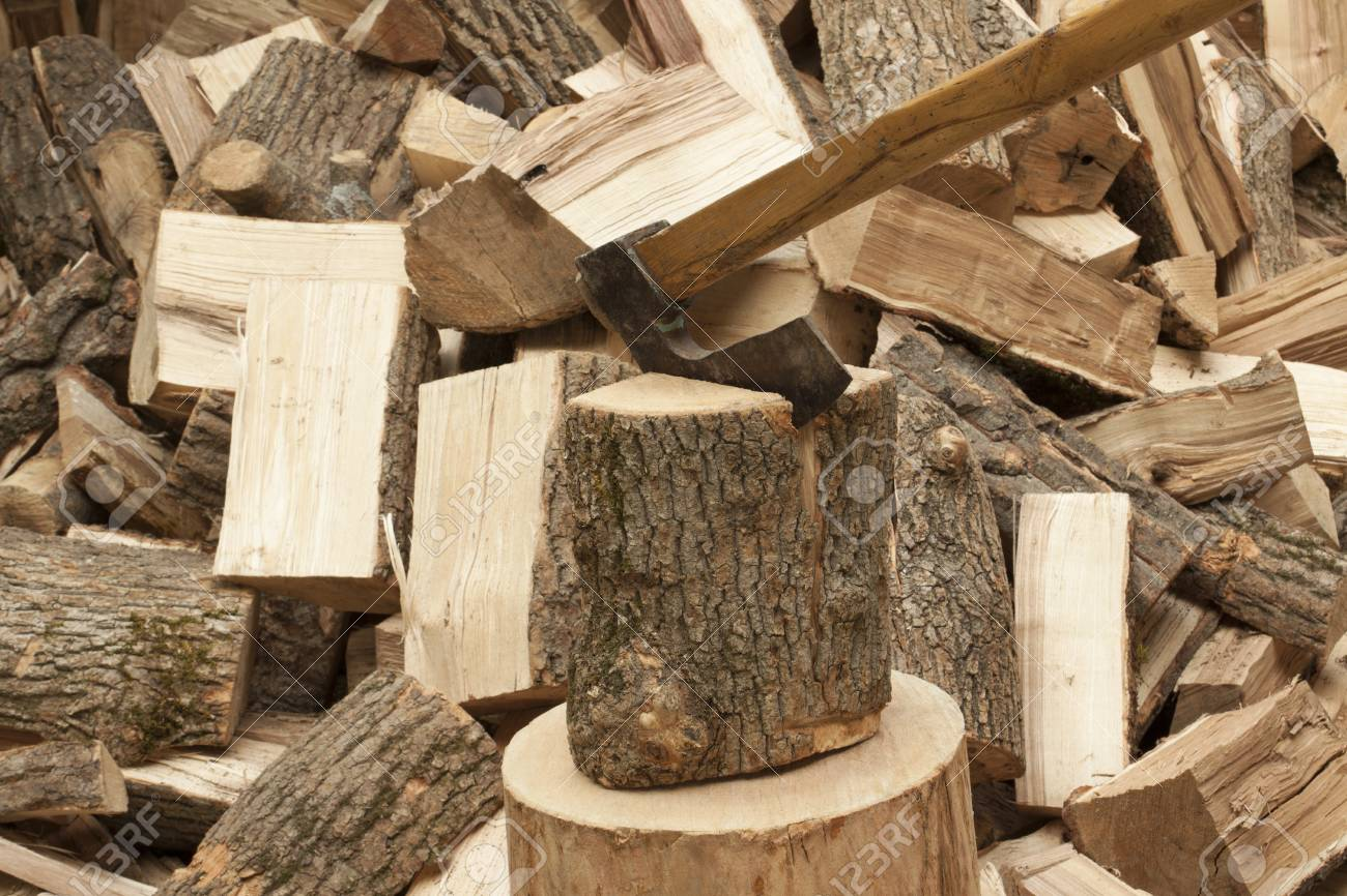 Axe Chopping Wood Firewood Stock Photo Picture And Royalty Free