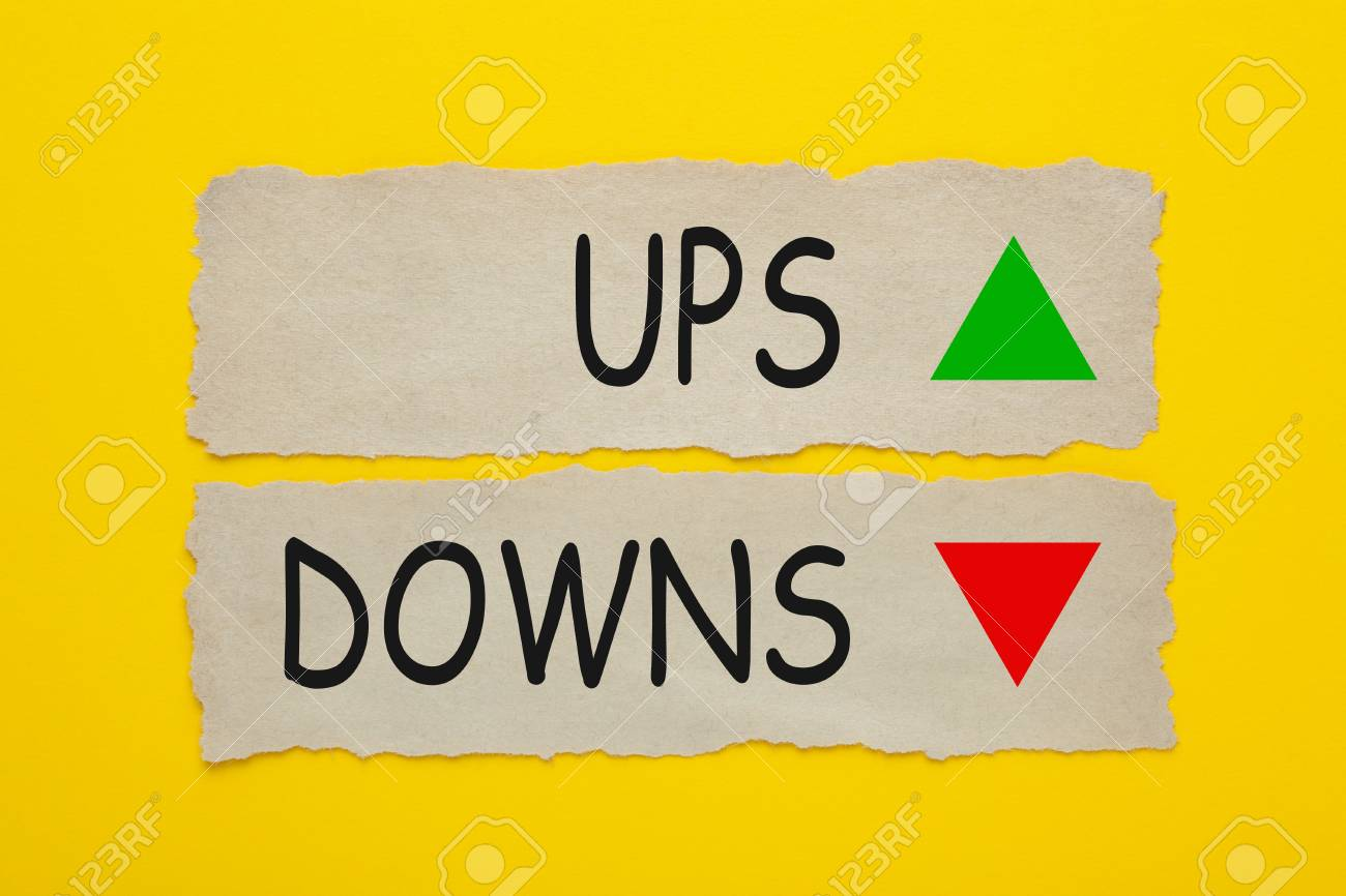 Ups And Downs Written On Old Torn Paper ...