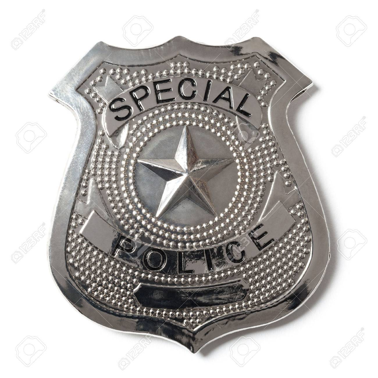special police badge with clipping path isolated on white stock