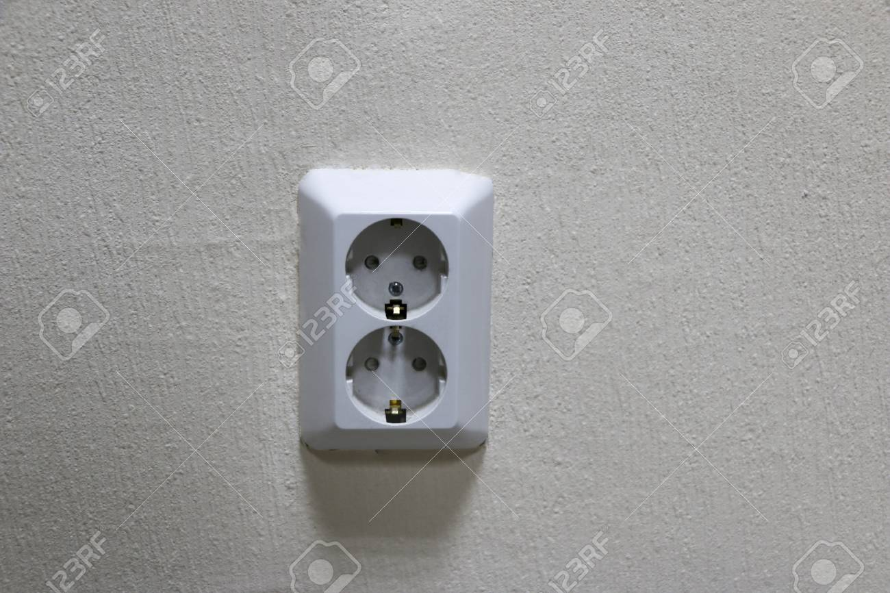 White Double Power Socket On Light Wallpaper Wiring Electricity Receptacle Stock Photo In Room Repair Apartment Or Office