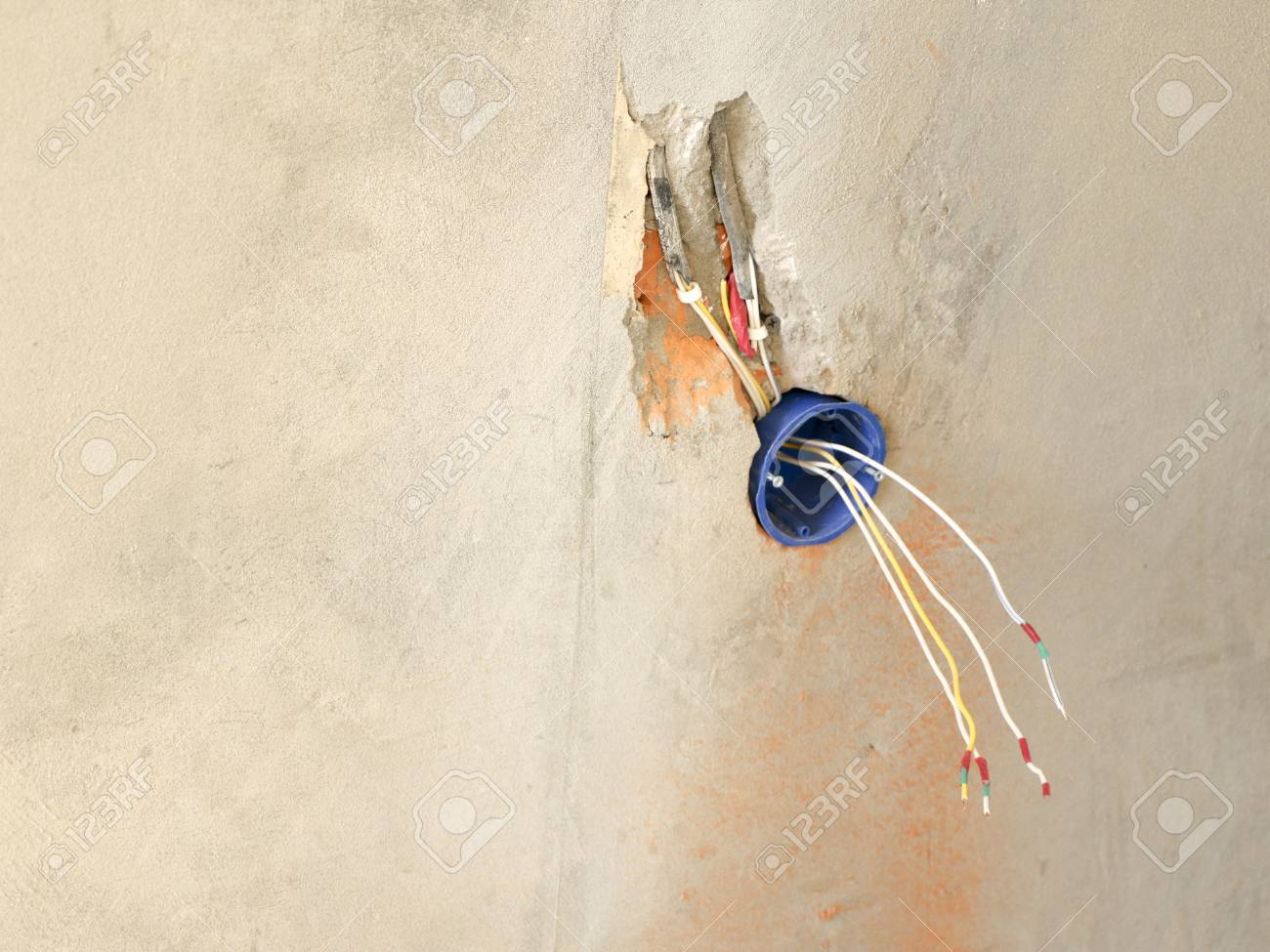 Wall Socket Installation Work On Installing Electrical Outlets Proper Wiring Stock Photo Electrician Prepares Fitting