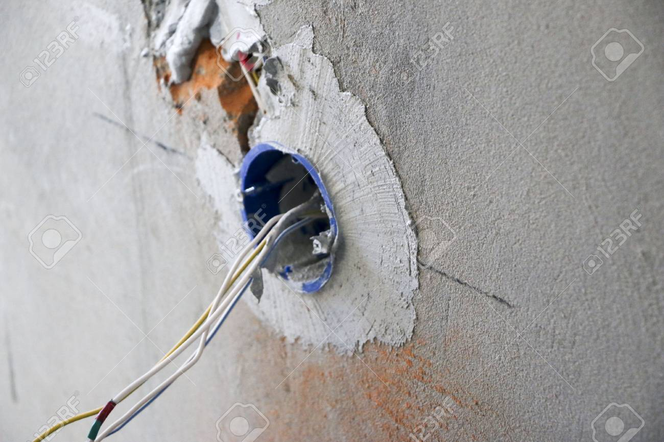 Wall Socket Installation Work On Installing Electrical Outlets Wiring Of Stock Photo Electrician Prepares Fitting