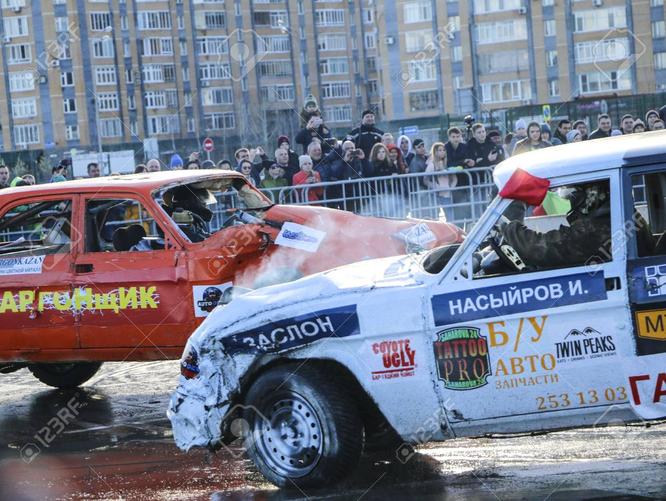KAZAN, RUSSIA - APRIL 29, 2018: Cars and drivers in small arena