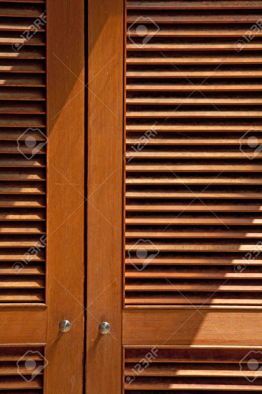 Wood Jalousie Door Texture With Lighting Stock Photo   8224370