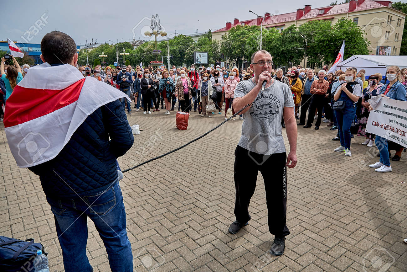 June 7 2020 Minsk Belarus A rally when a man took the microphone from the opposition leader to express his opinion about the existing government - 151157950