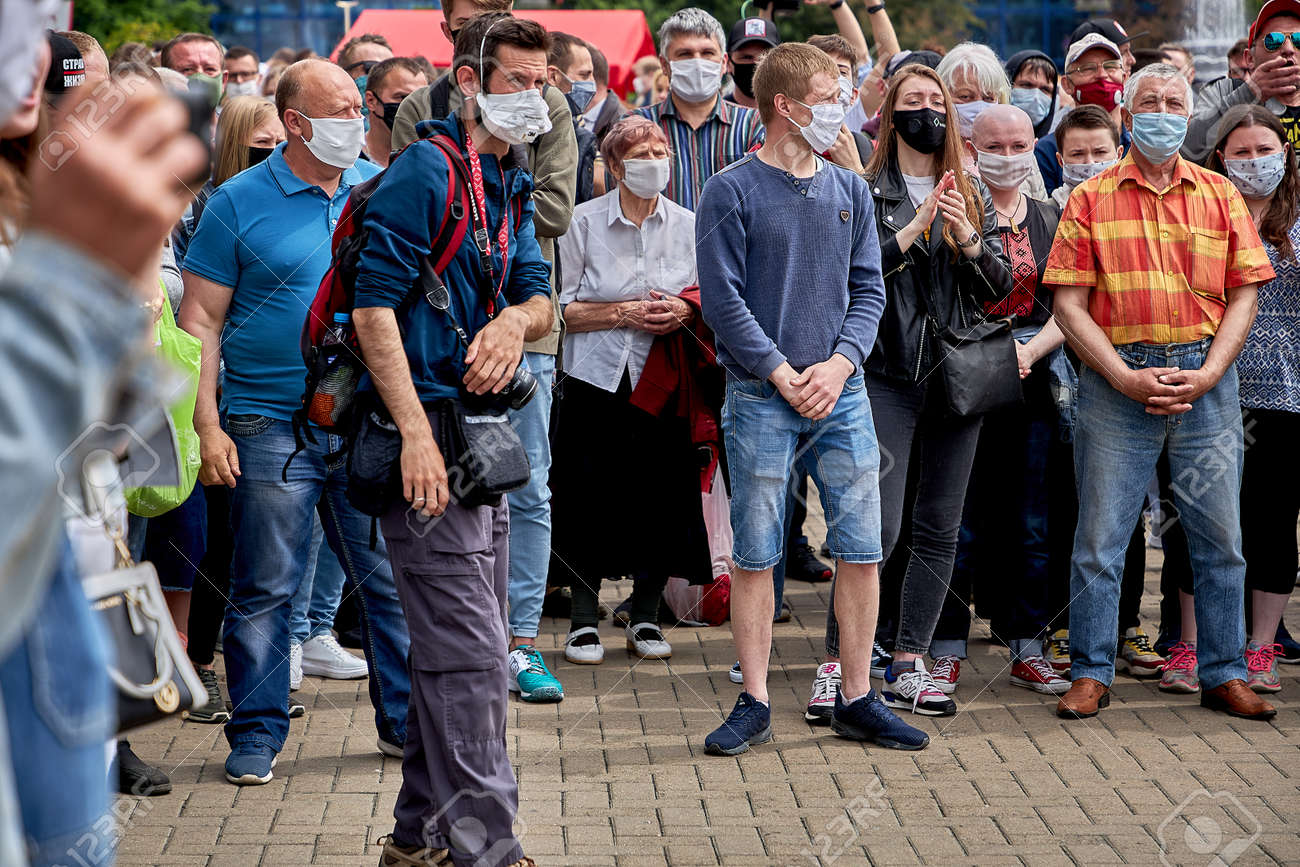 June 7 2020 Minsk Belarus People in medical masks stand in line to leave signatures for presidential candidates - 151157954