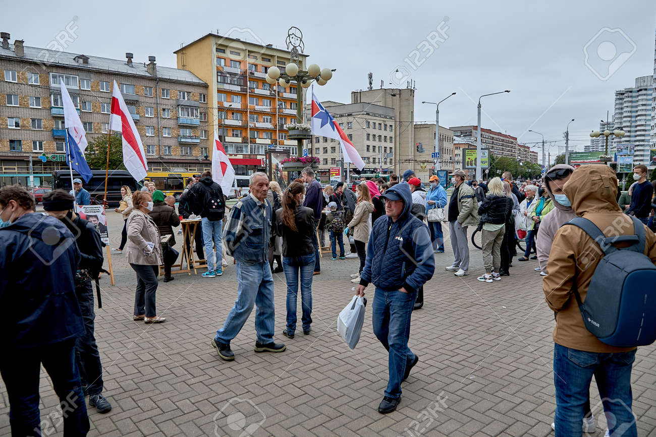 June 14 2020 Minsk Belarus Active people strolling up to the tables to collect signatures for possible presidential candidates - 151159307