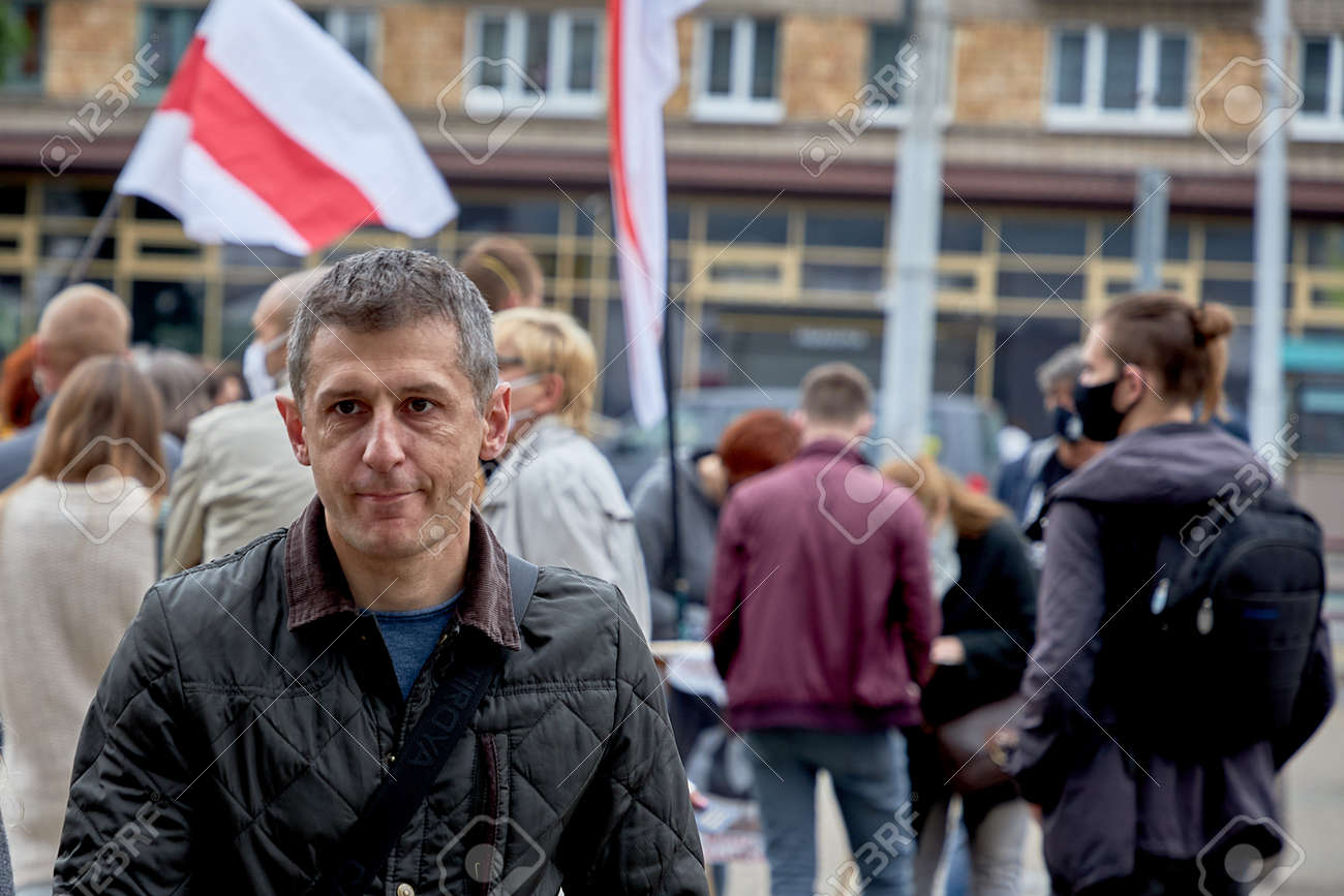 June 14 2020 Minsk Belarus A man walks from a protest rally - 151306466