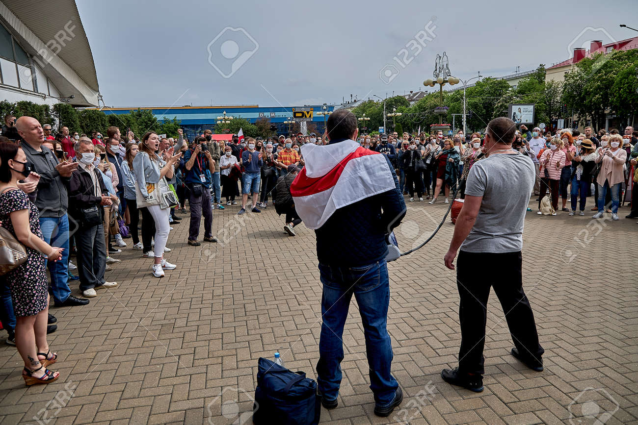 June 7 2020 Minsk Belarus The two leaders of the opposition with a microphone urging people to protest - 151306518